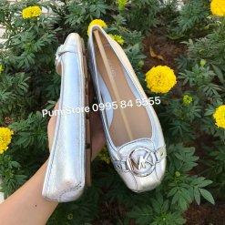 Giay Michael Kors Silver Metallic Leather