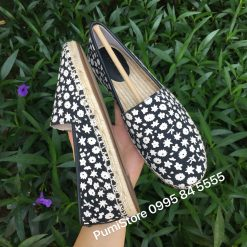 Giay COACH Flat Espadrille Black/Chalk Floral Canvas