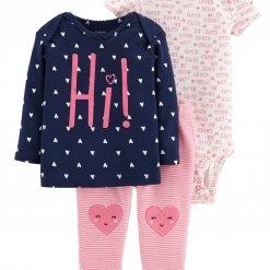 Set 3 mon be gai Carter's Little Character Pink Navy