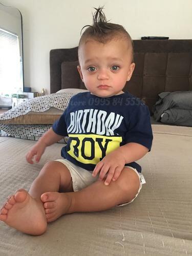 áo phông ngắn tay Carter's Birthday boy Jersey Tee Navy