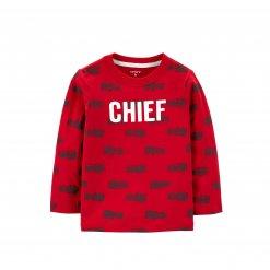 Ao thun dai tay Carter's Chief Firetruck Jersey Tee Red