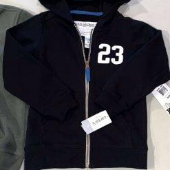 Áo Khoác Bé Trai lót lông cừu Carters Front-Zip Hoodie black