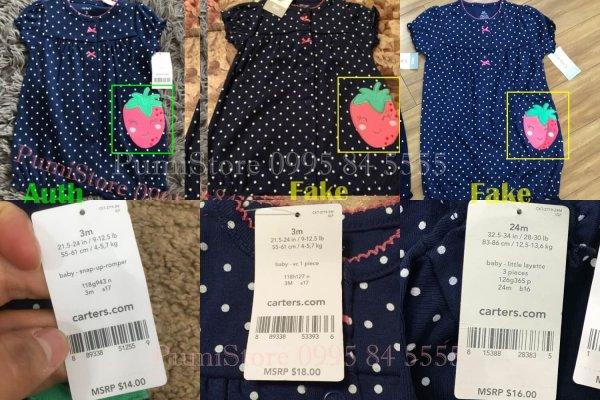 Phân biệt quần áo Carter's dựa vào tag và UPC