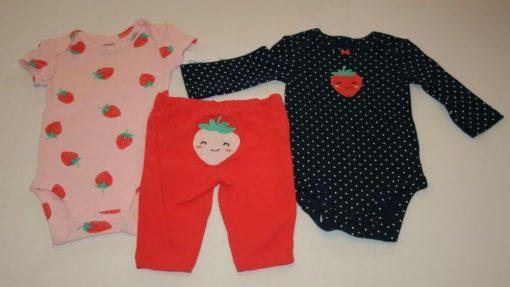 Set 3 món bé gái Carter's Strawberry Little Character Set Pink Navy
