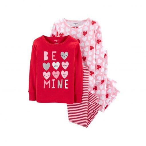 Set 4 đồ ngủ Carter's Heart Cotton Pajamas Red/Pink