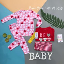 Set 4 do ngu Carter's Heart Cotton Pajamas Red/Pink