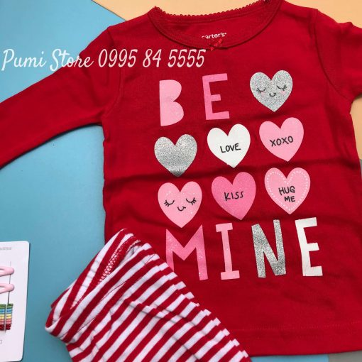 Set 4 do ngu Carter's Heart Cotton Pajamas Red/Pink