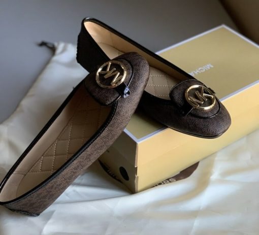 Giay Michael Kors Lillie Brown/Black Logo