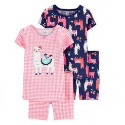 Set 4 đồ ngủ Carter's 100% Llama Snug Fit Cotton PJs Pink/Blue